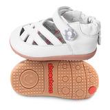 英國 shooshoos 健康無毒真皮手工學步鞋/童鞋 純白小花編織涼鞋(公司貨)