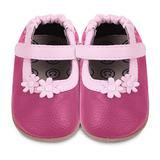 英國 shooshoos 健康無毒真皮手工學步鞋/童鞋 桃紅兩朵小粉花童鞋 (公司貨)