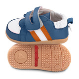 英國 shooshoos 健康無毒真皮手工學步鞋/童鞋 藍/橘白條紋童鞋(公司貨)