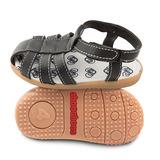 英國 shooshoos 健康無毒真皮手工學步鞋/童鞋 黑色羅馬涼鞋(公司貨)
