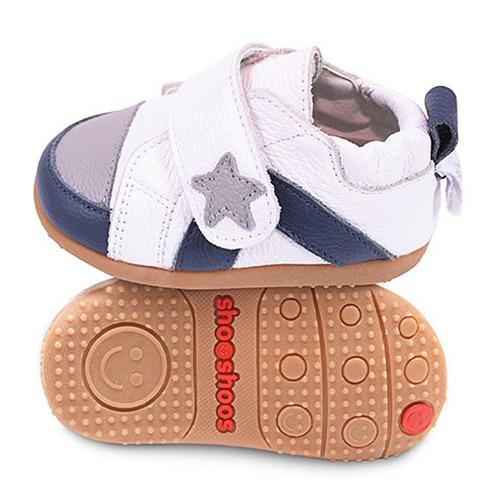 英國 shooshoos 健康無毒真皮手工學步鞋/童鞋_白色小星星童鞋(公司貨)