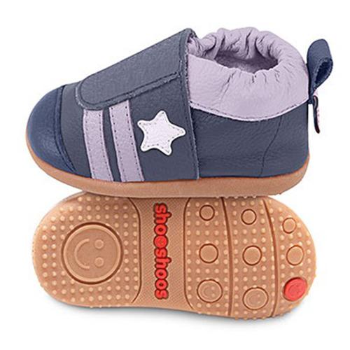 英國 shooshoos 安全無毒真皮手工學步鞋/童鞋_藍灰小星星線條童鞋(公司貨)