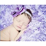 美國Jamie Rae 100%純棉髮帶 薰衣草紫細髮帶+薰衣草紫玫瑰 (JRFBR02)