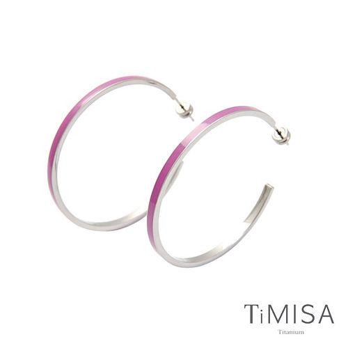 【TiMISA】活力漾彩-桃紫 純鈦耳環一對