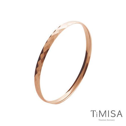 【TiMISA】格緻真愛-細版 (玫瑰金) 純鈦手環