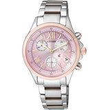 CITIZEN Eco-Drive 光動能 浪漫春意 三眼計時腕錶-粉紅 FB1404-69W
