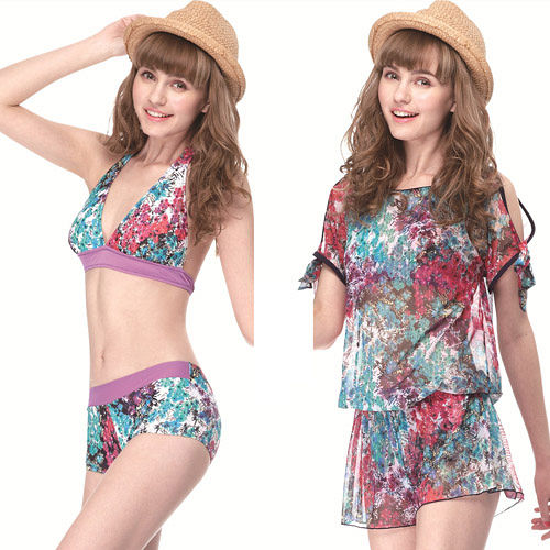 【SAIN SOU】大女比基尼三件式泳裝附泳帽A93416