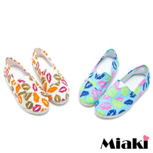【Miaki】懶人鞋彩漾韓式平底休閒包鞋 (藍色/紅色)