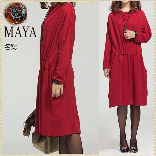 【Maya 名媛】現貨-m~2xl簡約棉質小毛圈料 堆疊型領口 寬袖型 彈性收腰連衣裙 洋裝-紅色