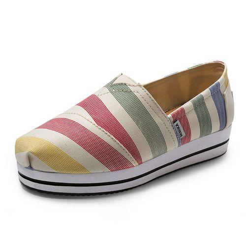 【Maya easy現貨38號】帆布鞋 懶人套腳鞋 寬彩虹帆布料 彈性3.5cm 走路鞋 平底鞋