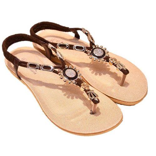 【Maya easy】希臘雅典款水鑽平跟夾腳涼鞋/沙灘鞋 (棕色)