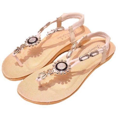 【Maya easy】希臘雅典款水鑽平跟夾腳涼鞋/沙灘鞋(米白色)