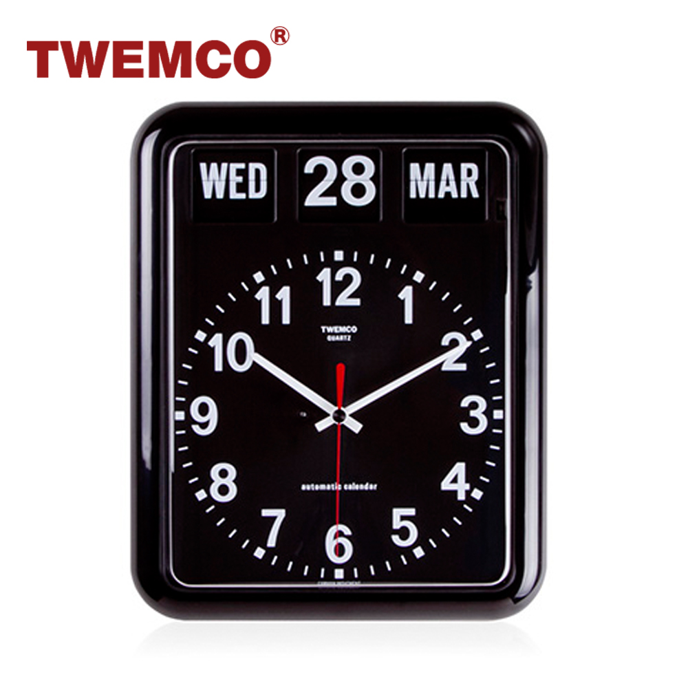【TWEMCO】機械式翻頁鐘 德國機芯 英文萬年曆 掛鐘 (BQ-12A 黑色)