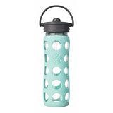 美國唯樂Lifefactory 彩色玻璃水瓶-吸管450ml淺藍綠 LF224049