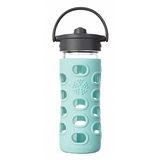 美國唯樂Lifefactory 繽紛彩色玻璃水瓶-吸管350ml淺藍綠 LF284044