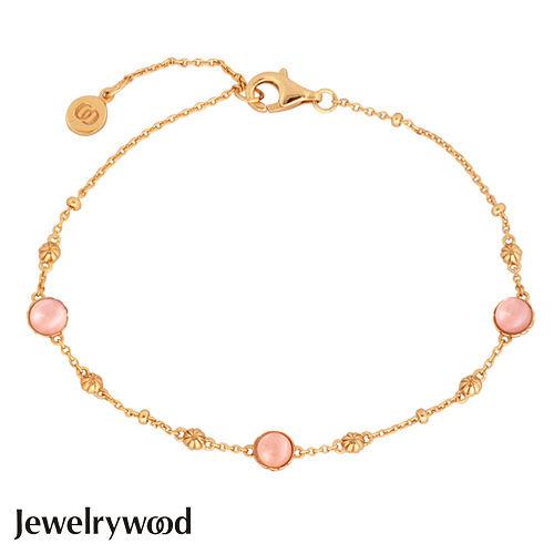 Jewelrywood 純銀拜占庭復古玫瑰石英手鍊