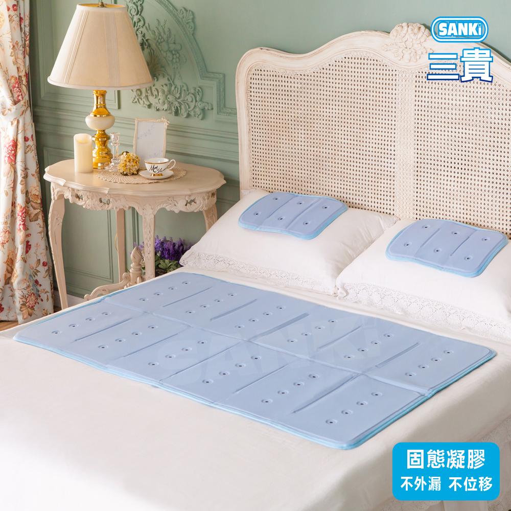 日本SANKi 散熱孔3D網凝膠冰涼床墊1床2枕