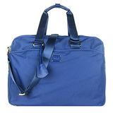 agnes b. 雙槓金屬LOGO尼龍旅行袋(大/藍)