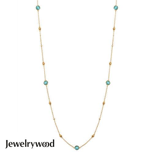 Jewelrywood 純銀拜占庭復古海藍寶項鍊