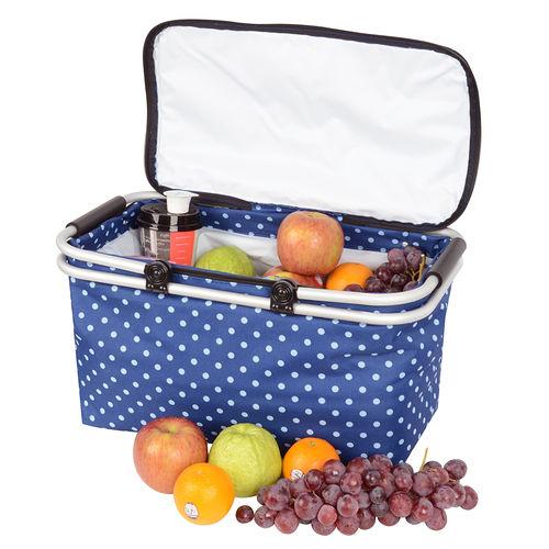 LIFECODE《點點風》鋁合金折疊保冰袋/野餐提籃 (藍色)
