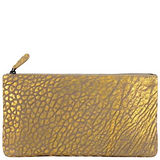 BOTTEGA VENETA 編織小羊皮蛇紋手拿包/化妝包(中型)(金色)