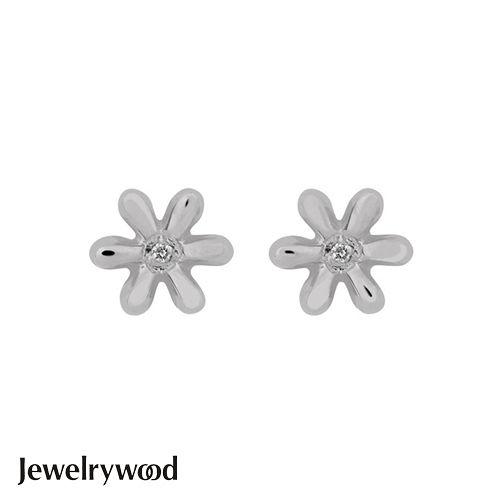 Jewelrywood 純銀優雅雛菊鑽石耳環(白金)