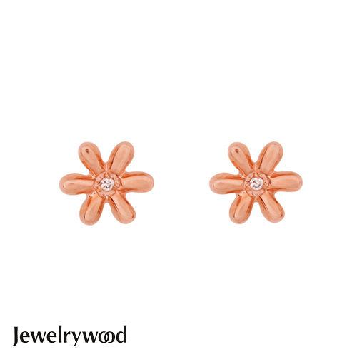 Jewelrywood 純銀優雅雛菊鑽石耳環(玫瑰金)