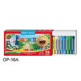 【雄獅 SIMBALION】OP-16A 粉蠟筆-16色入 / 盒 (外殼顏色圖案,隨機出貨)
