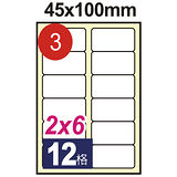 【鶴屋】#03 NO.B45100 電腦列印標籤紙/三用標籤 45×100mm/12格留邊 (105張/盒)