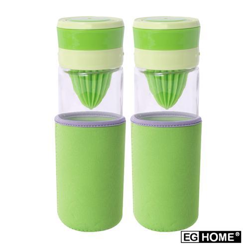 EG Home 宜居家 多功能玻璃榨汁 泡茶磨汁杯(500ml)附杯套、清潔刷 (買一送一)