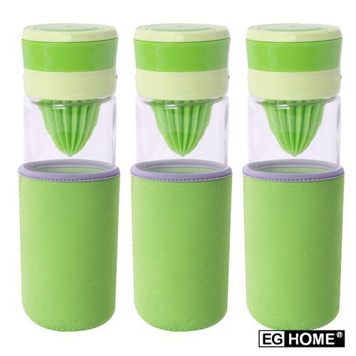 EG Home 宜居家 多功能玻璃榨汁 泡茶 磨汁杯(500ml)附杯套、清潔刷 (3入)