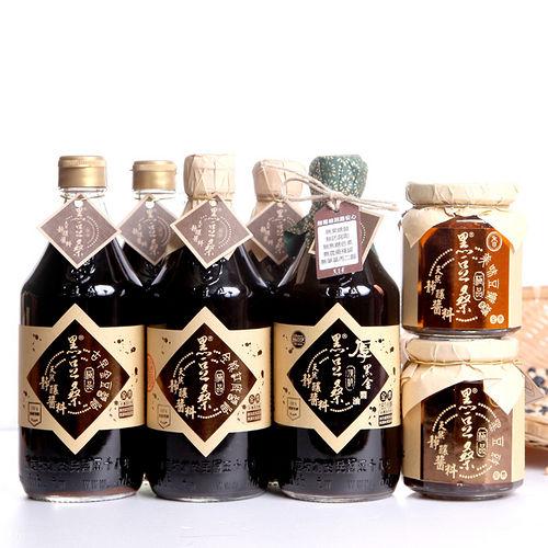 【黑豆桑】煮婦必備組(金豆醬油2+缸底醬油2+厚黑金醬油1+豆瓣醬1+黑豆豉1)