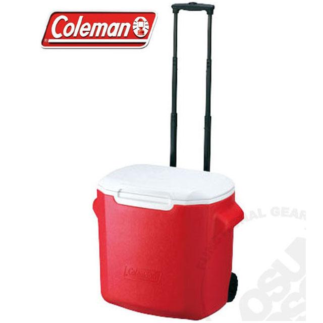 【美國 Coleman】 26.5L拖輪置物型冰桶_CM-0026 紅