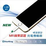 StarKing iPhone Lightning 8 pins to USB Cable 1.2米 LED智慧型 充電/傳輸線(白)X1