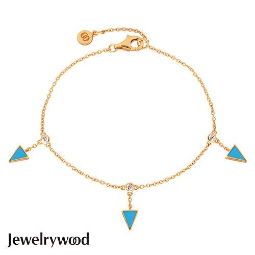Jewelrywood 純銀Aztec三角土耳其石手鍊