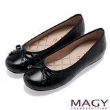 MAGY 清新氣質系女孩 蝴蝶結菱格縫線娃娃鞋-黑色