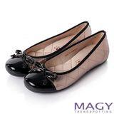 MAGY 清新氣質系女孩 蝴蝶結菱格縫線娃娃鞋-銀灰