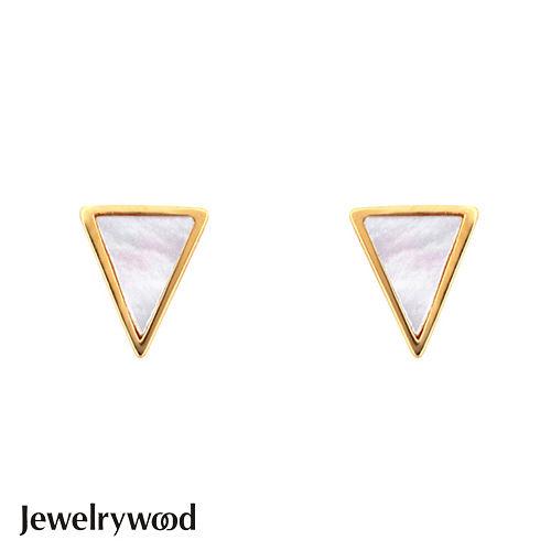 Jewelrywood 純銀Aztec三角珍珠母貝耳環