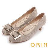 ORIN 時尚魅力 方型飾釦優雅中跟鞋-米色