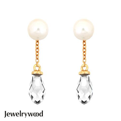 Jewelrywood 純銀雅典娜珍珠水滴石耳環(白)