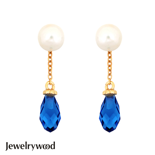 Jewelrywood 純銀雅典娜珍珠水滴石耳環(藍寶)