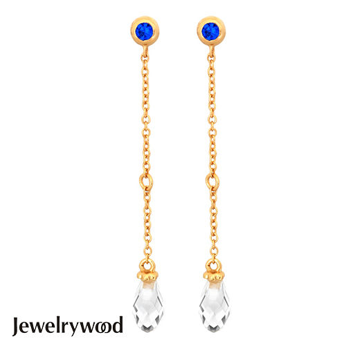 Jewelrywood 純銀拜占庭梨型水晶石情人耳環