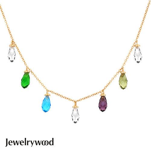 Jewelrywood 純銀拜占庭梨型水晶石情人項鍊