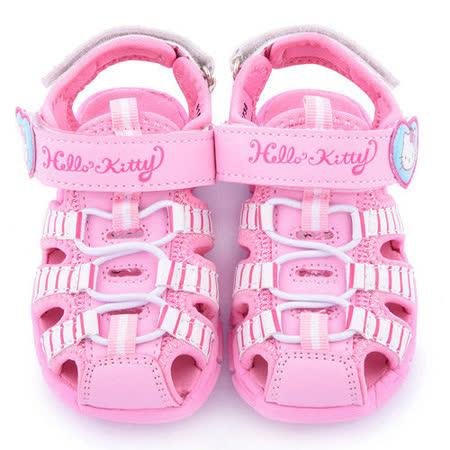 童鞋城堡-Hello Kitty 中童 條紋輕量玩水護趾涼鞋815736-粉