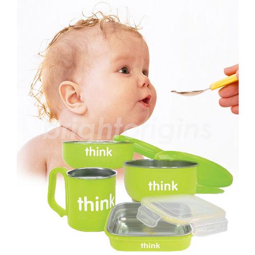 美國Thinkbaby無毒不鏽鋼餐具4件組