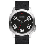 NIXON RANGER星際領航員時尚潮流腕錶-銀框黑x帆布帶