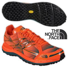 【美國 The North Face】男新款 ULTRA TR II 輕量透氣耐磨越野跑鞋 CKM3 螢光橘/碧綠