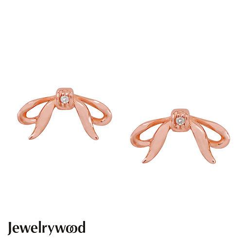Jewelrywood 純銀浪漫玫瑰金緞帶鑽石耳環