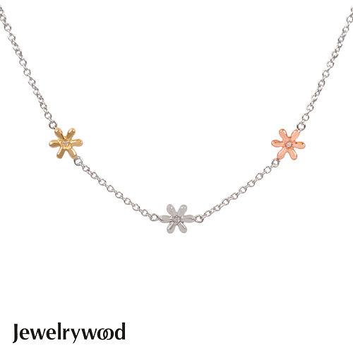 Jewelrywood 純銀優雅雛菊三色鑽石項鍊