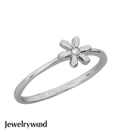 Jewelrywood 純銀優雅雛菊鑽石戒指(白金)